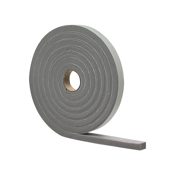 Picture of M-D 02279 Foam Tape, 1/2 in W, 17 ft L, 1/4 in Thick, PVC, Gray