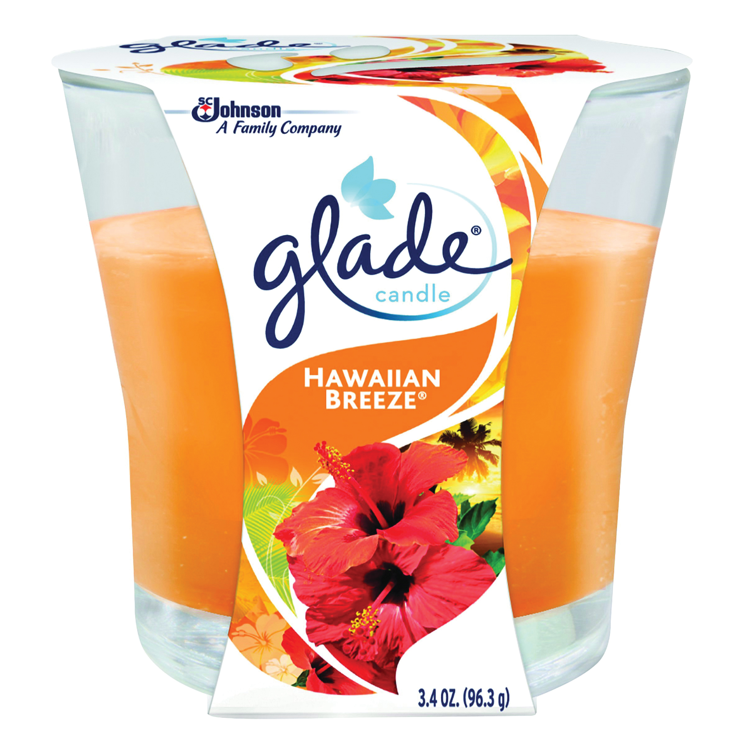 Picture of Glade 76956 Air Freshener Candle Orange, 3.4 oz Package, Jar, Hawaiian Breeze, Orange