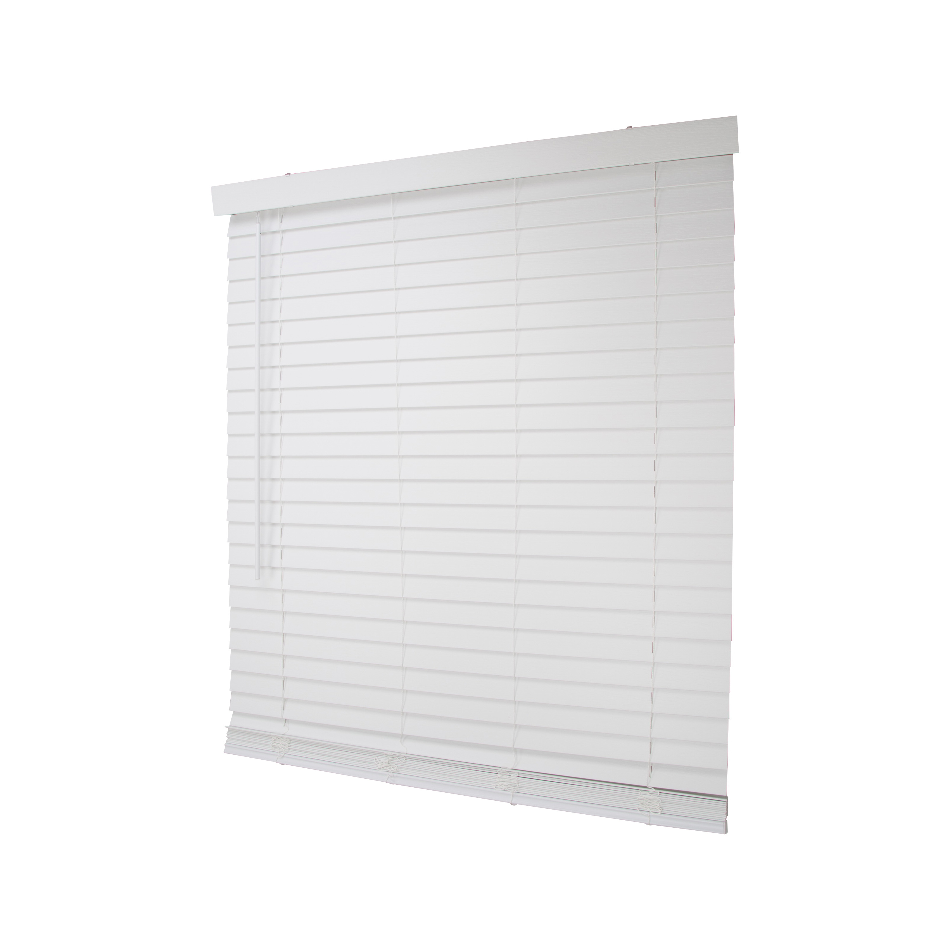 Picture of Simple Spaces FWMB-17 Cordless Mini Blind, 64 in L, 39 in W, Faux Wood, White