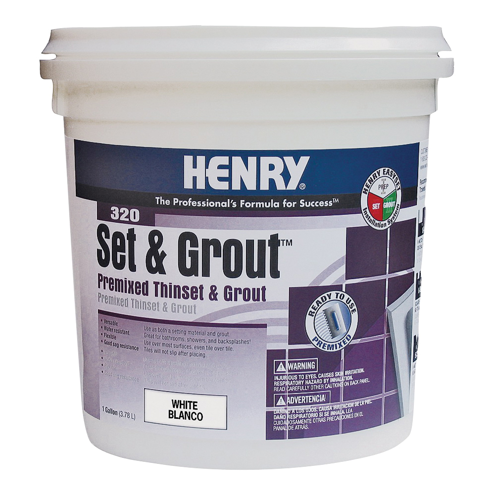 Picture of HENRY Set&Grout 12041 Adhesive and Grout, Paste, White, 1 gal Package, Tub