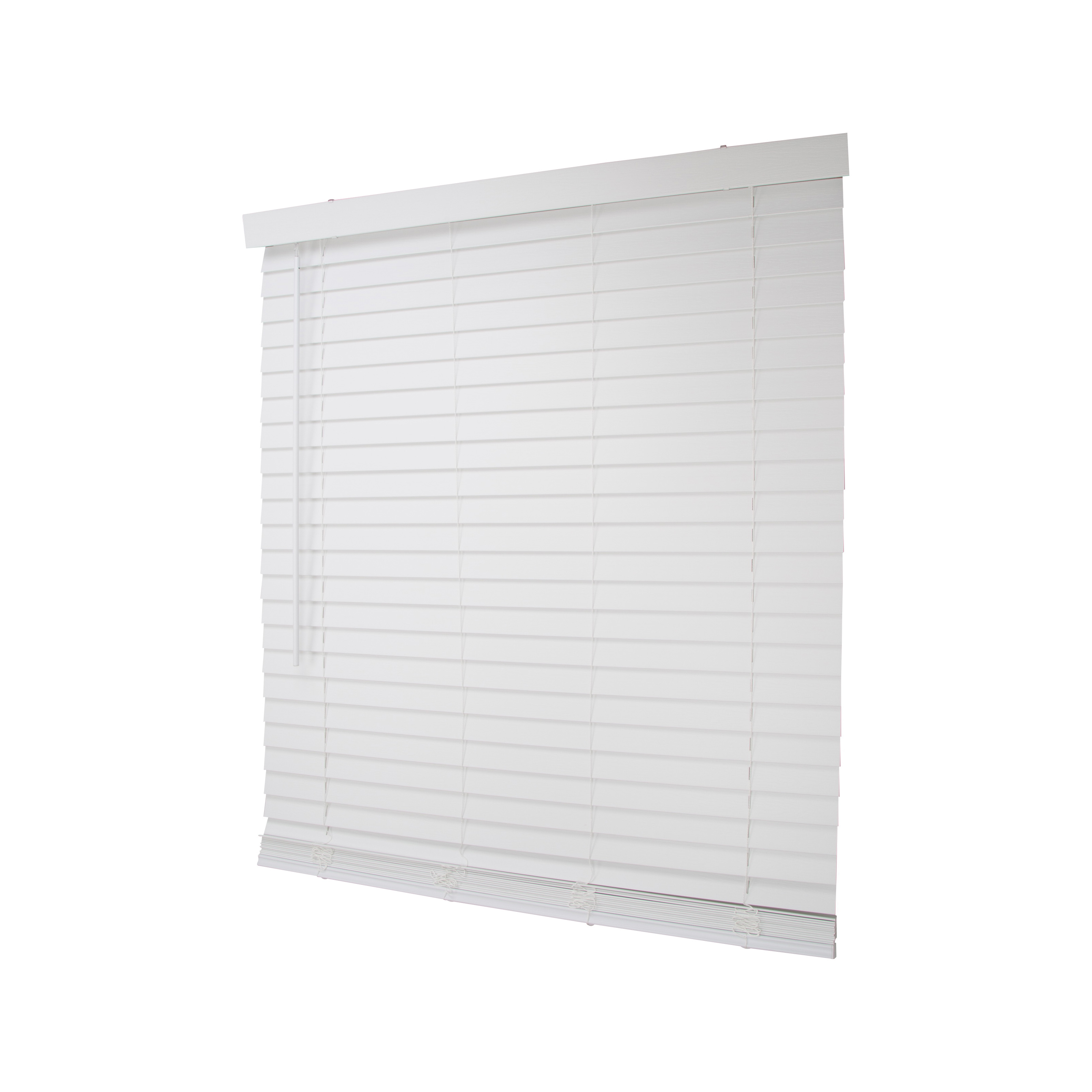 Picture of Simple Spaces FWMB-18 Cordless Mini Blind, 64 in L, 43 in W, Faux Wood, White