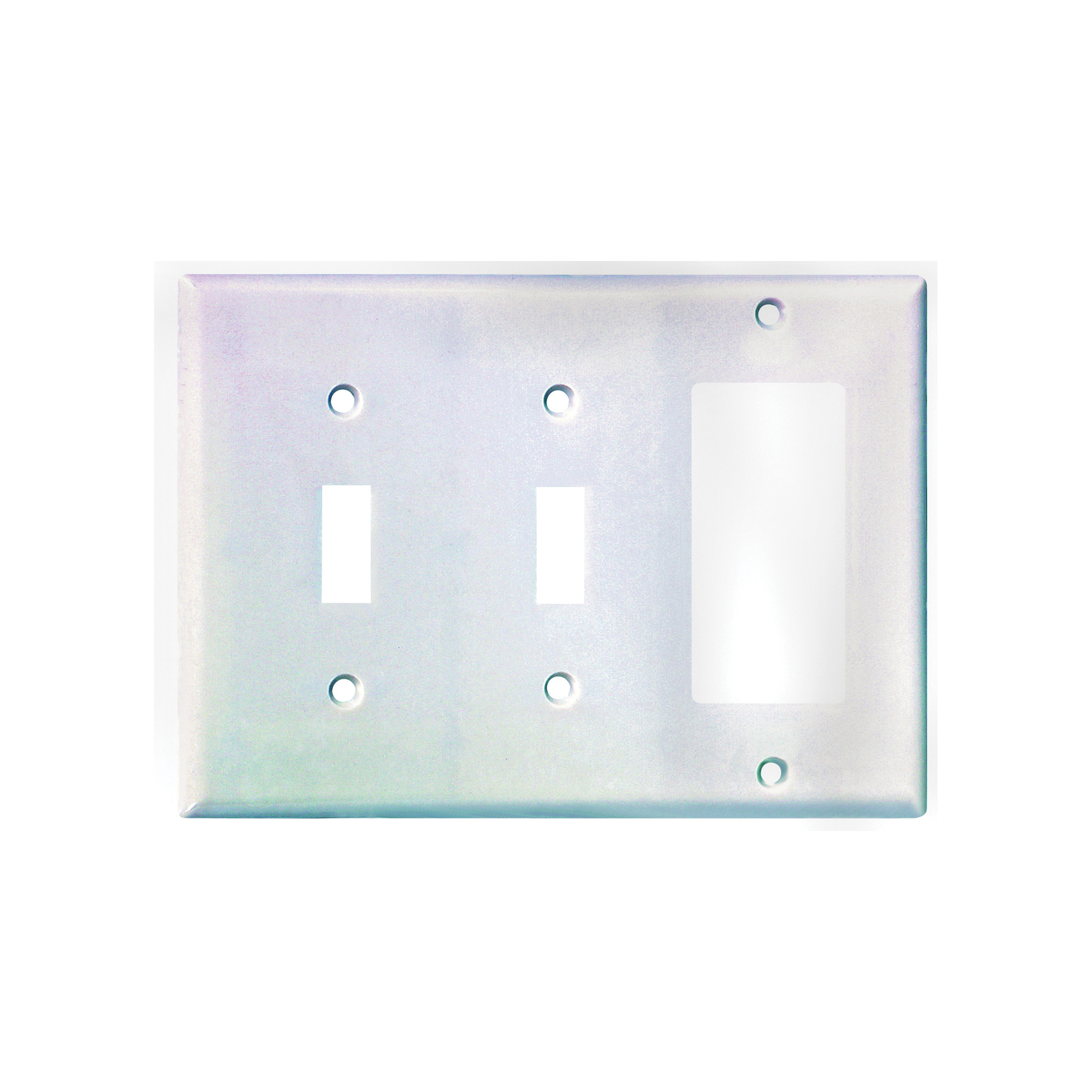 Picture of Eaton Wiring Devices 2173W-BOX Wallplate, 4-1/2 in L, 6-3/8 in W, 3-Gang, Thermoset, White, High-Gloss