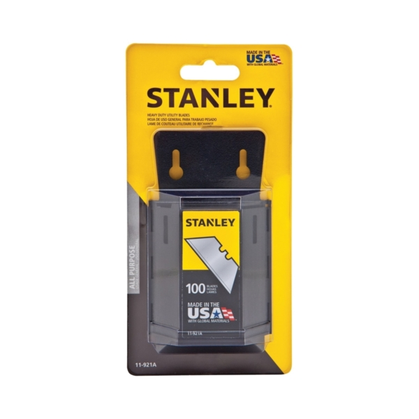 Picture of STANLEY 11-921A Utility Blade, 2-7/16 in L, HCS, 2 -Point, 100/PK, Carded