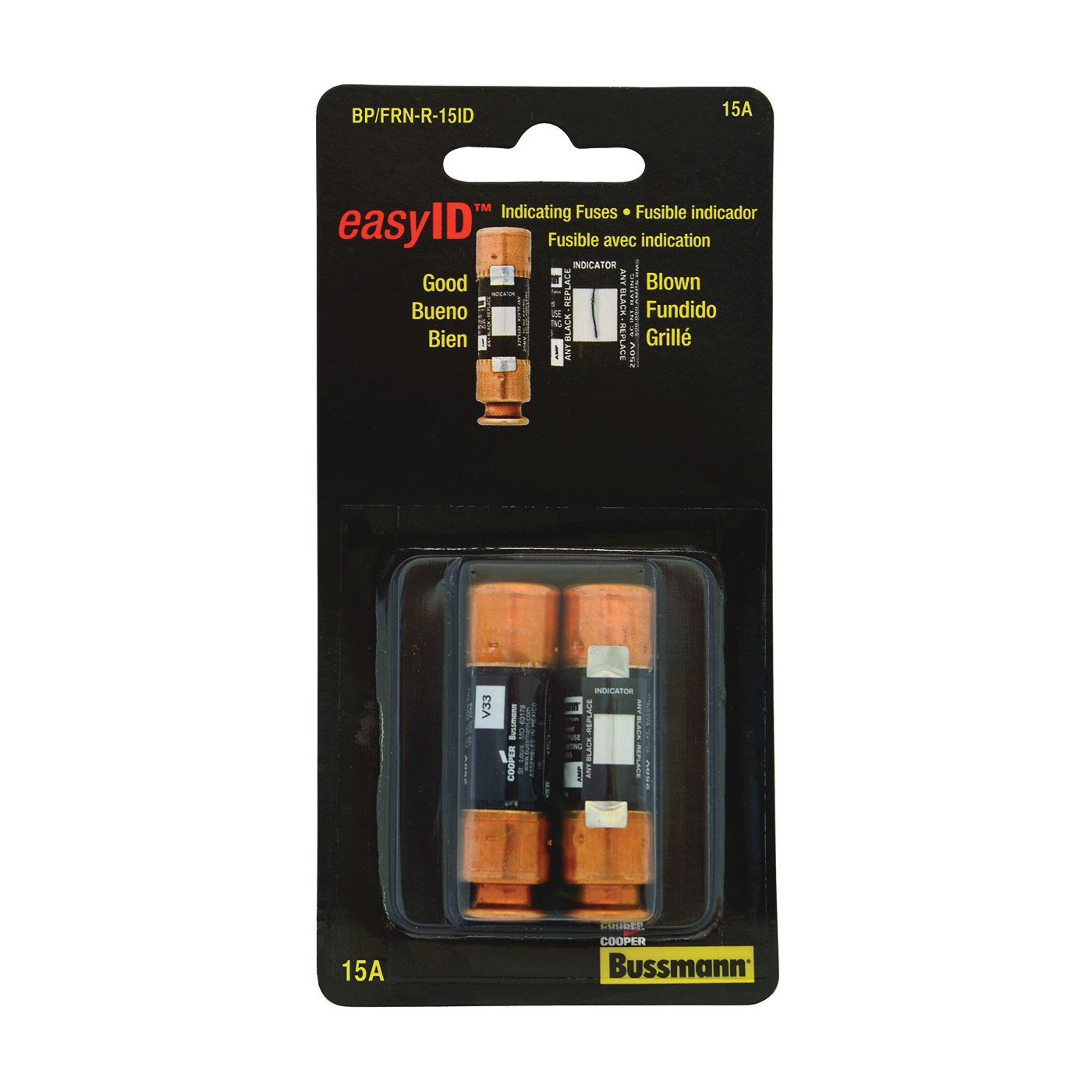 Picture of Bussmann BP/FRN-R-15ID Time-Delay Fuse, 15 A, 250 V, Cartridge Fuse