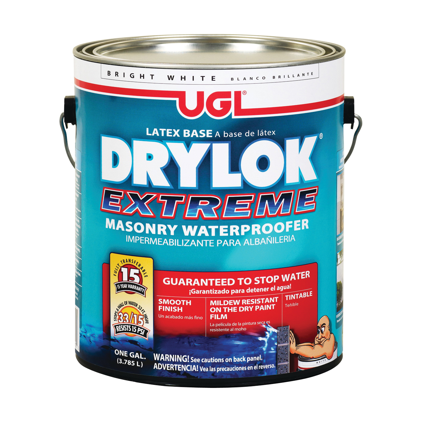 Picture of UGL DRYLOK EXTREME 28613 Masonry Waterproofer, White, Liquid, 1 gal Package, Pail