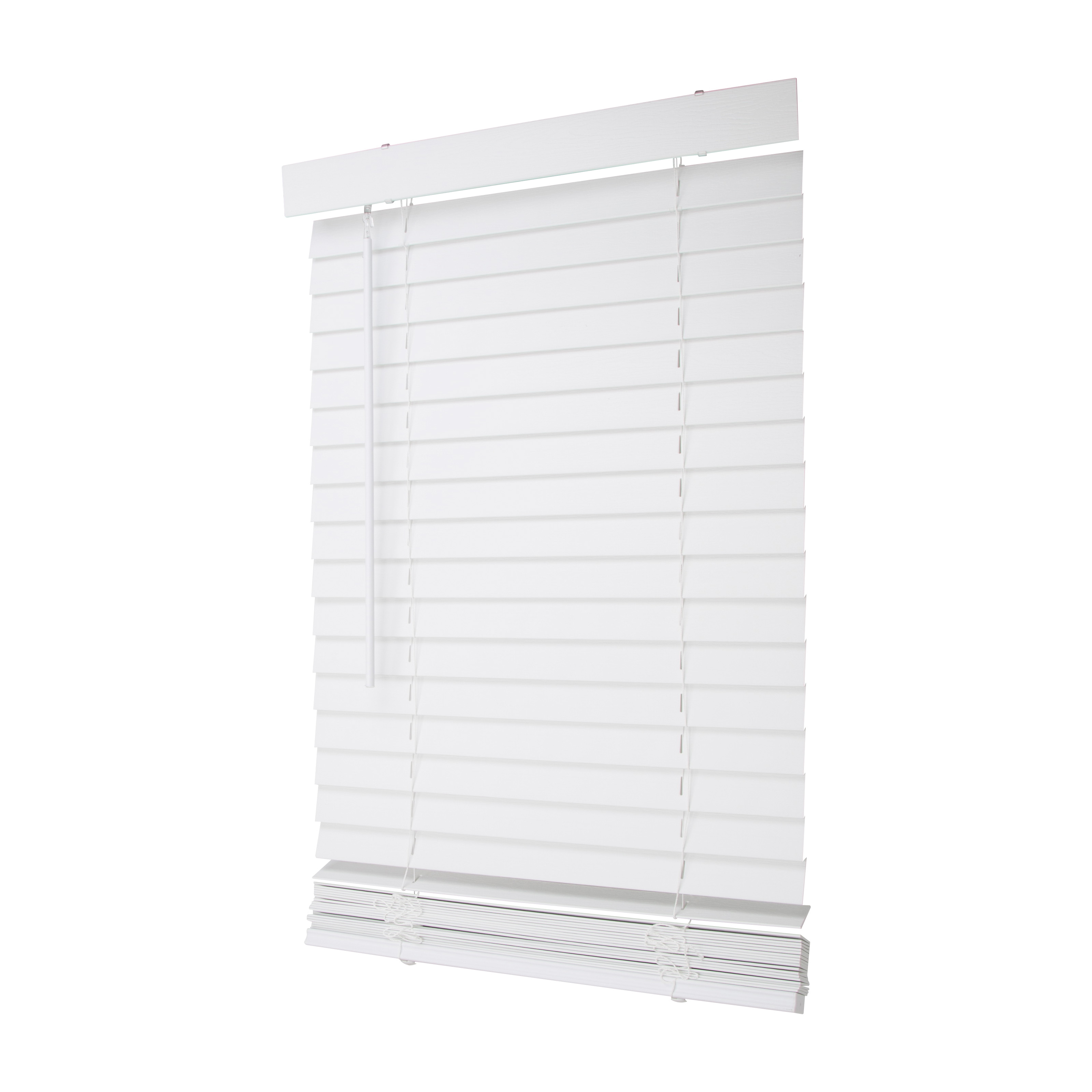 Picture of Simple Spaces FWMB-25 Cordless Mini Blind, 72 in L, 23 in W, Faux Wood, White