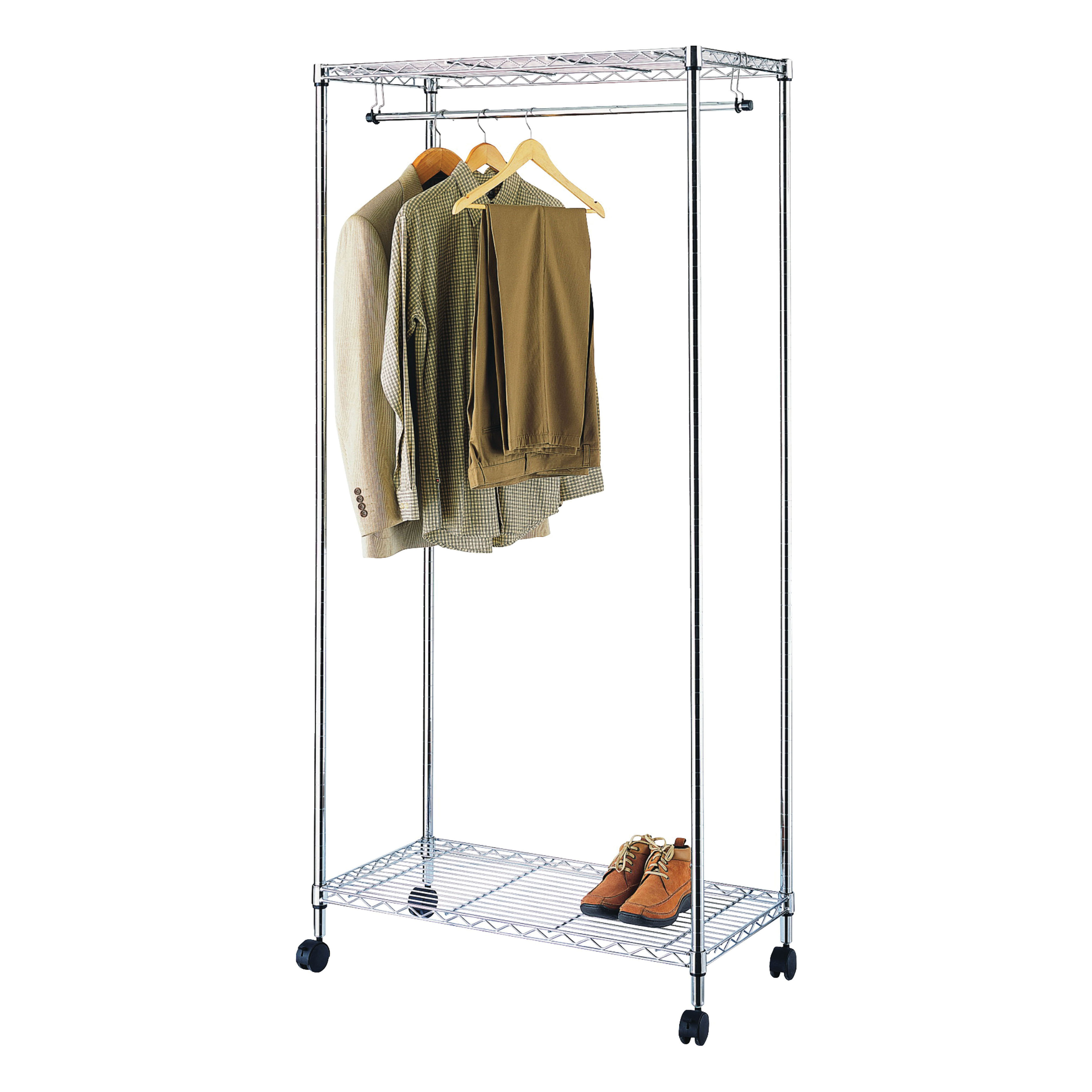Picture of Simple Spaces SS-8058-90TCH-3L Garment Rack with Wheel, 30 to 50 Garments Capacity, 35-3/4 in W, 75 in H, Steel
