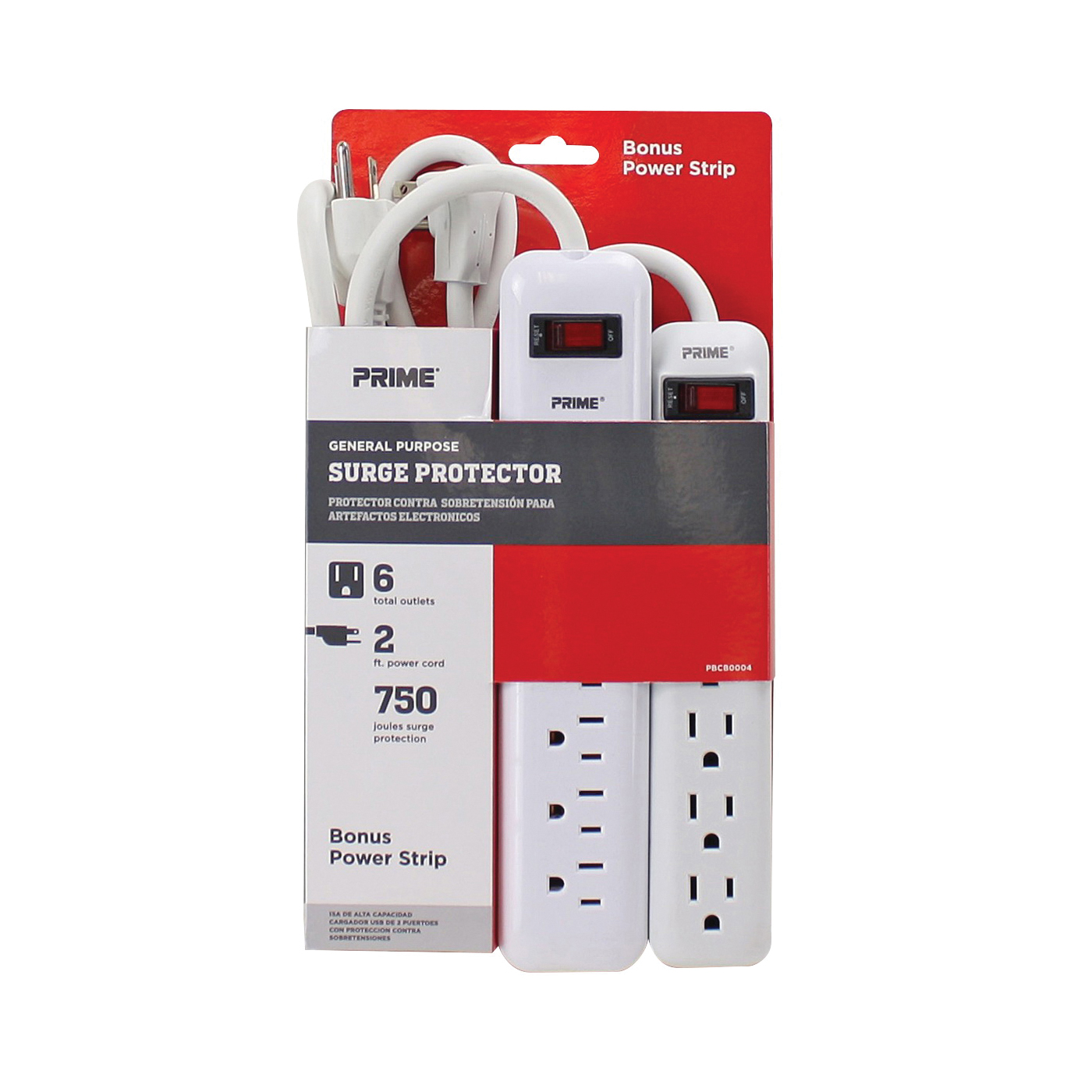 Picture of Prime PBCB0004 General-Purpose Surge Protector, 125 V, 15 A, 6-Outlet, 750 J Energy, <1 ns Response, White