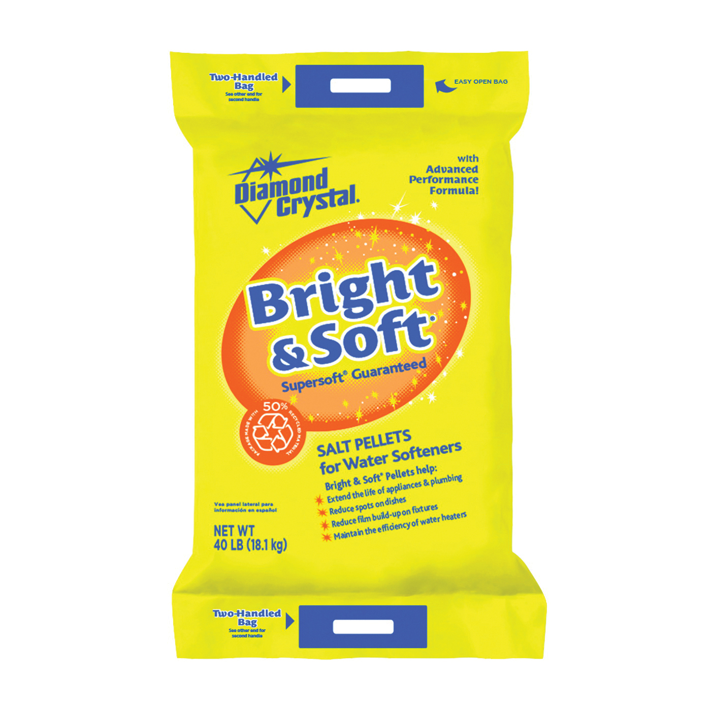 Picture of Cargill Diamond Crystal Bright & Soft 100012423 Salt Pellets, 50 lb Package, Bag