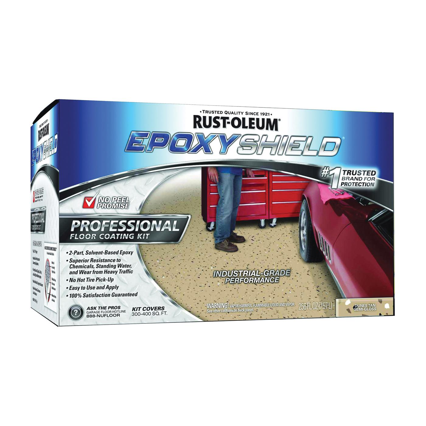 Picture of RUST-OLEUM EPOXYSHIELD 238466 Floor Coating Kit, Semi-Gloss, Dunes Tan, Liquid