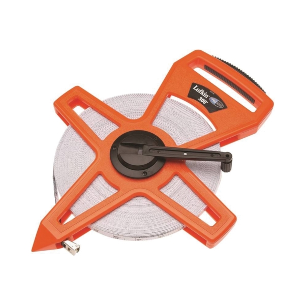 Picture of Crescent Lufkin PSFE300 Tape Measure, 300 ft L Blade, 3/4 in W Blade, Fiberglass Blade, ABS Case, Orange Case