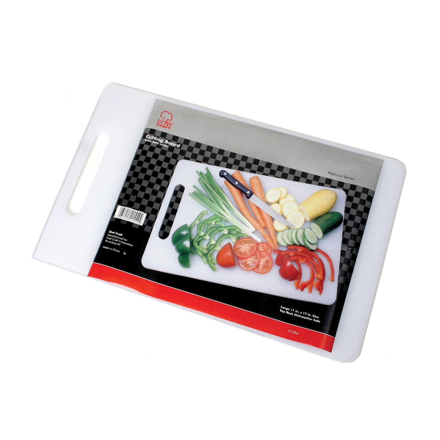 Picture of CHEF CRAFT 21554 Cutting Board, 17-1/2 in L, 11 in W, Plastic, White