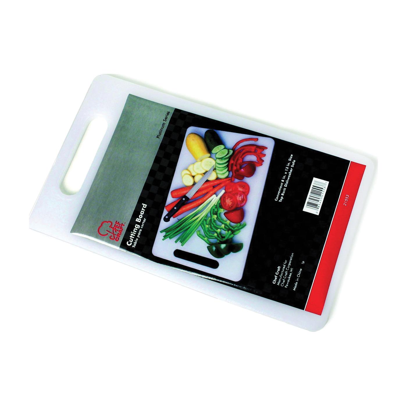 Picture of CHEF CRAFT 21553 Cutting Board, 13 in L, 8 in W, Plastic, White