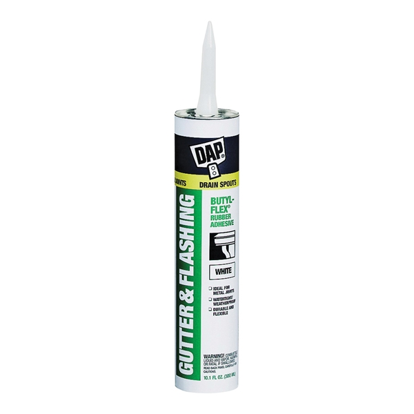 Picture of DAP BUTYL-FLEX 27062 Gutter and Flashing Sealant, Slight Solvent, White, 10.1 fl-oz Cartridge