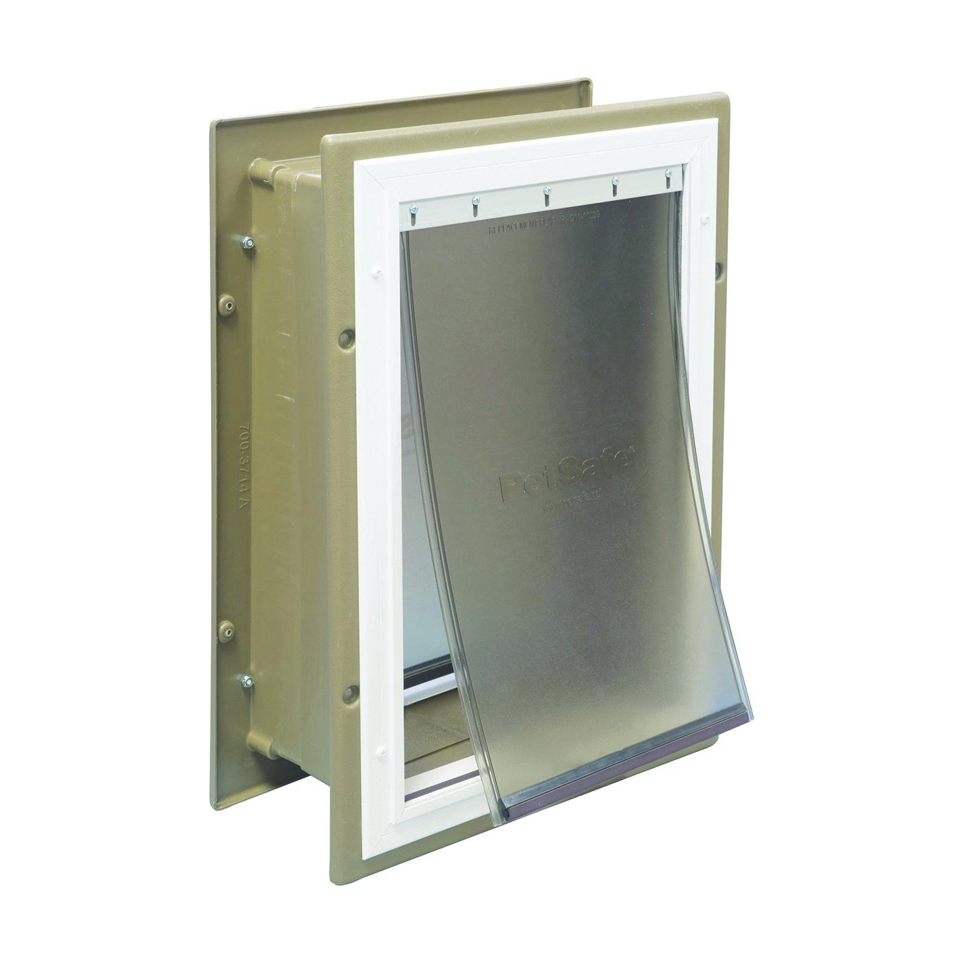 Picture of PetSafe HPA11-10920 Pet Door, Aluminum/Plastic, Brown/White