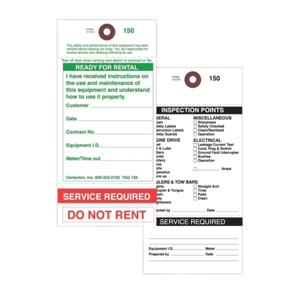 Picture of Centurion TAG150PT1 Rental Item Tag, READY-TO-RENT/SERVICE REQUIRED, 3-1/8 in W x 6-1/4 in H Dimensions