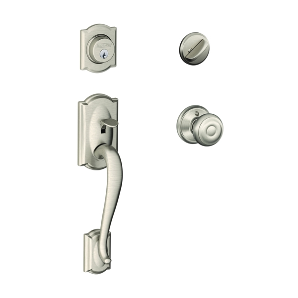 Picture of Schlage Camelot F60VCAM/GEO619 Handleset, Keyed Different Key, Brass, Satin Nickel, 2-3/8 x 2-3/4 in Backset