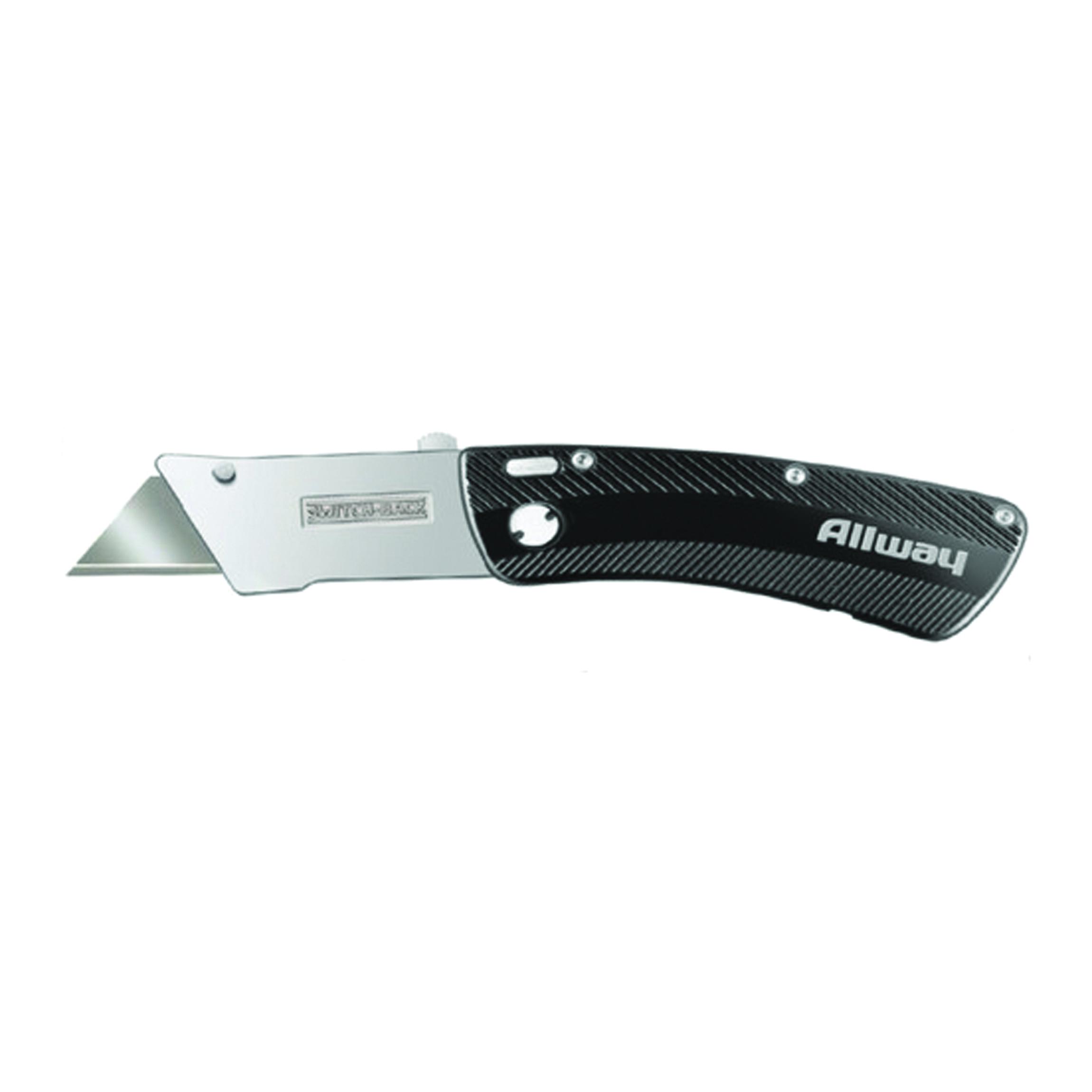 Picture of ALLWAY TOOLS SWK Utility Knife, Steel Blade, Black Handle