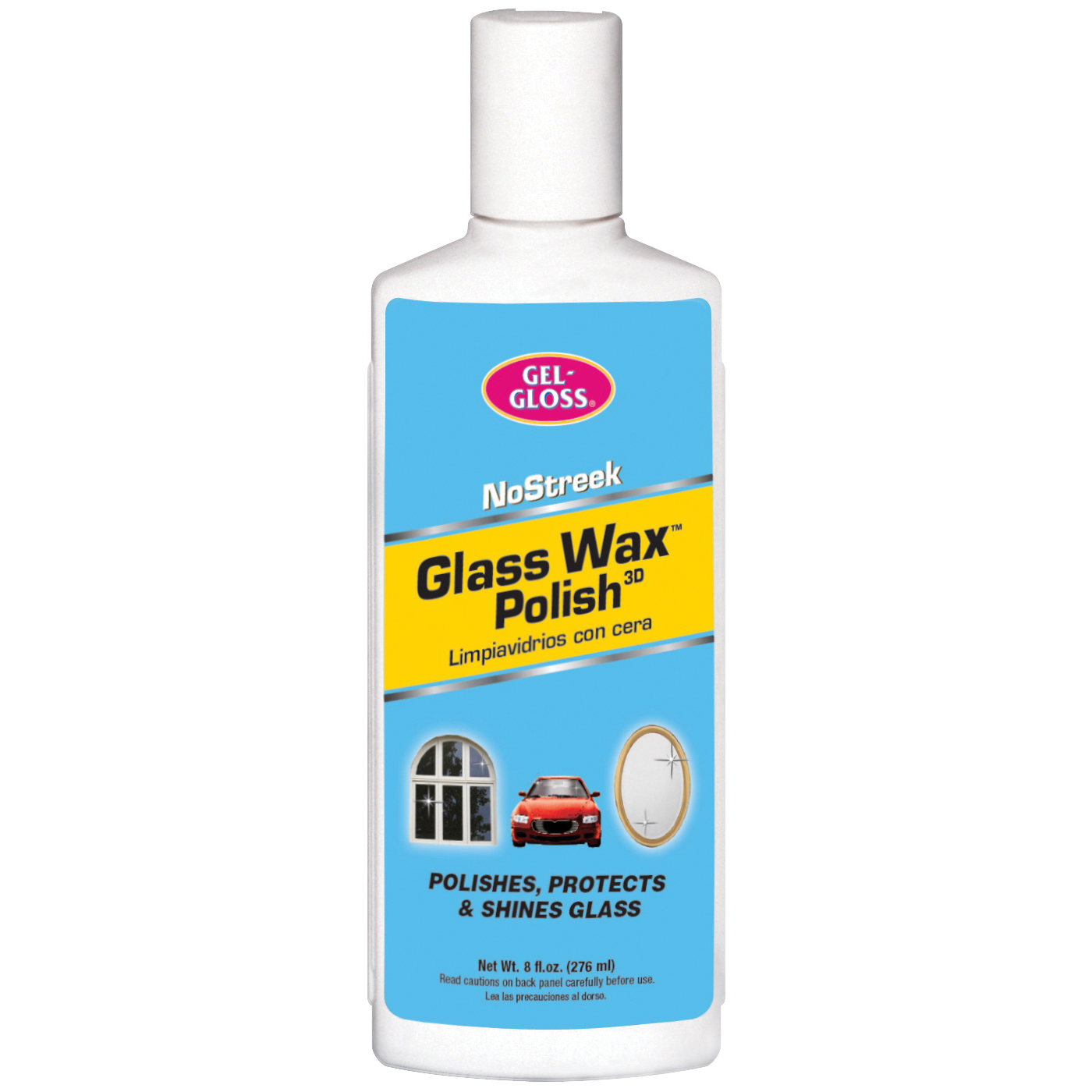Picture of Gel-Gloss NS-8 Glass Wax Cleaner, 8 oz Package, Bottle, Characteristic, Yellowish Green