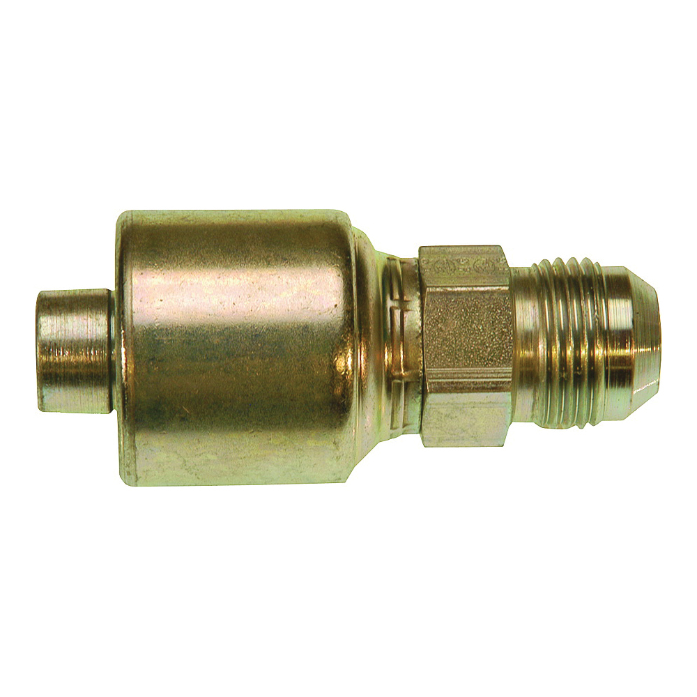 Picture of GATES MegaCrimp G25165-0608 Hose Coupling, 3/4-16, Crimp x JIC, Straight Angle, Steel, Zinc