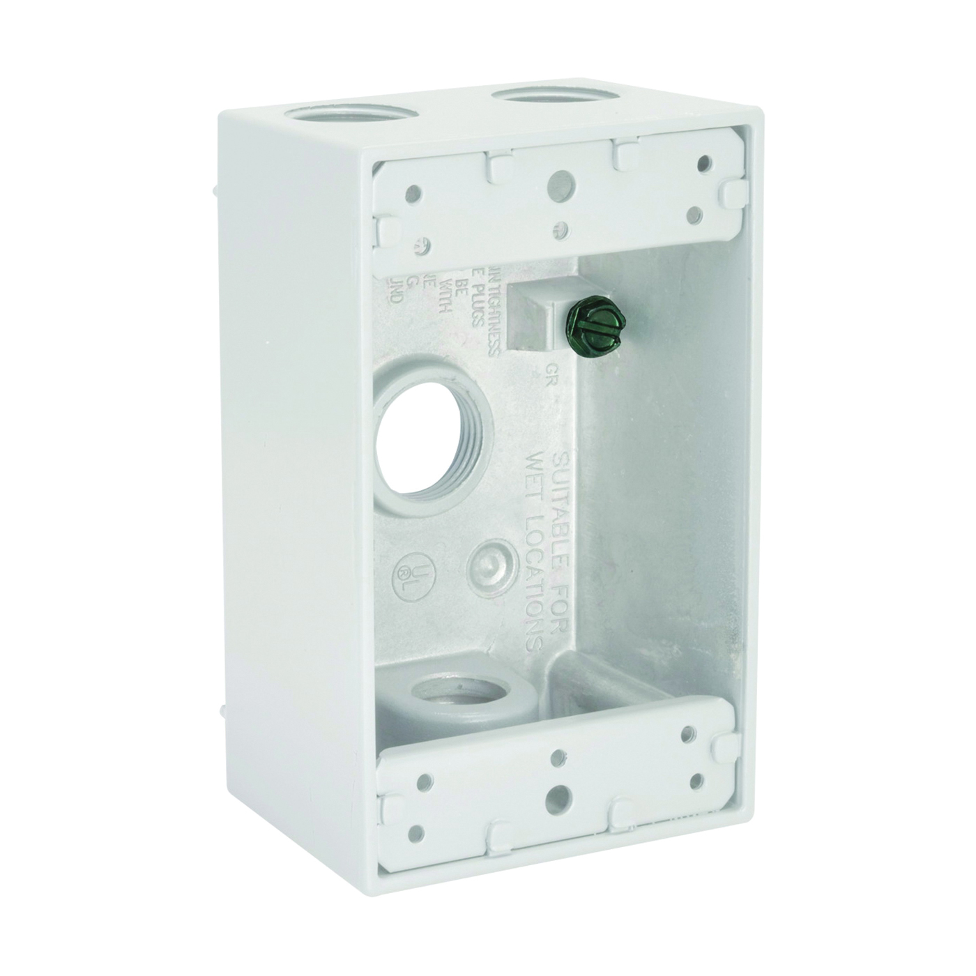 Picture of HUBBELL 5321-1 Box, 4-Outlet, 1-Gang, Aluminum, White, Powder-Coated