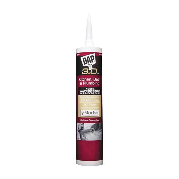 Picture of DAP 3.0 00790 Plumbing Sealant, White, 24 hr Curing, 9 oz Package, Tube