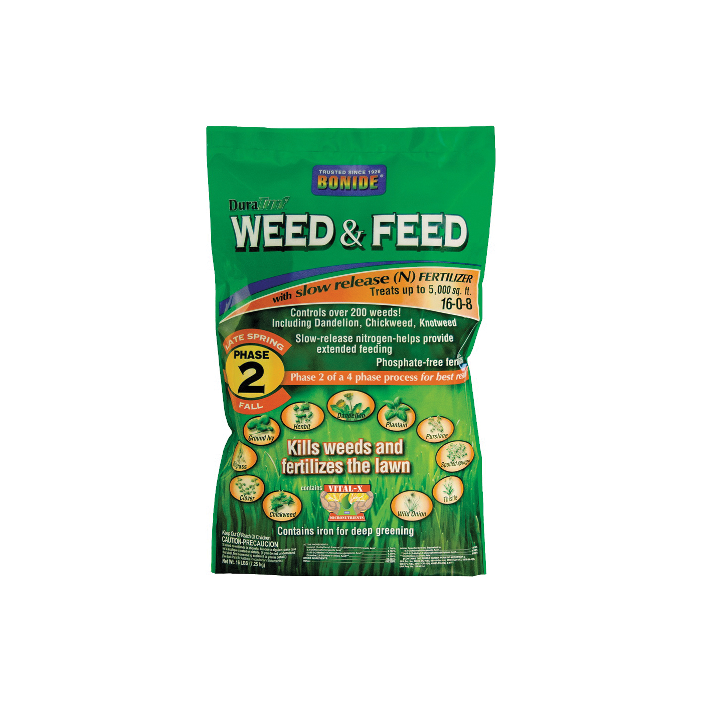 Picture of Bonide 60422 Weed and Feed Fertilizer, Solid, Mild Fertilizer, 16 lb Package
