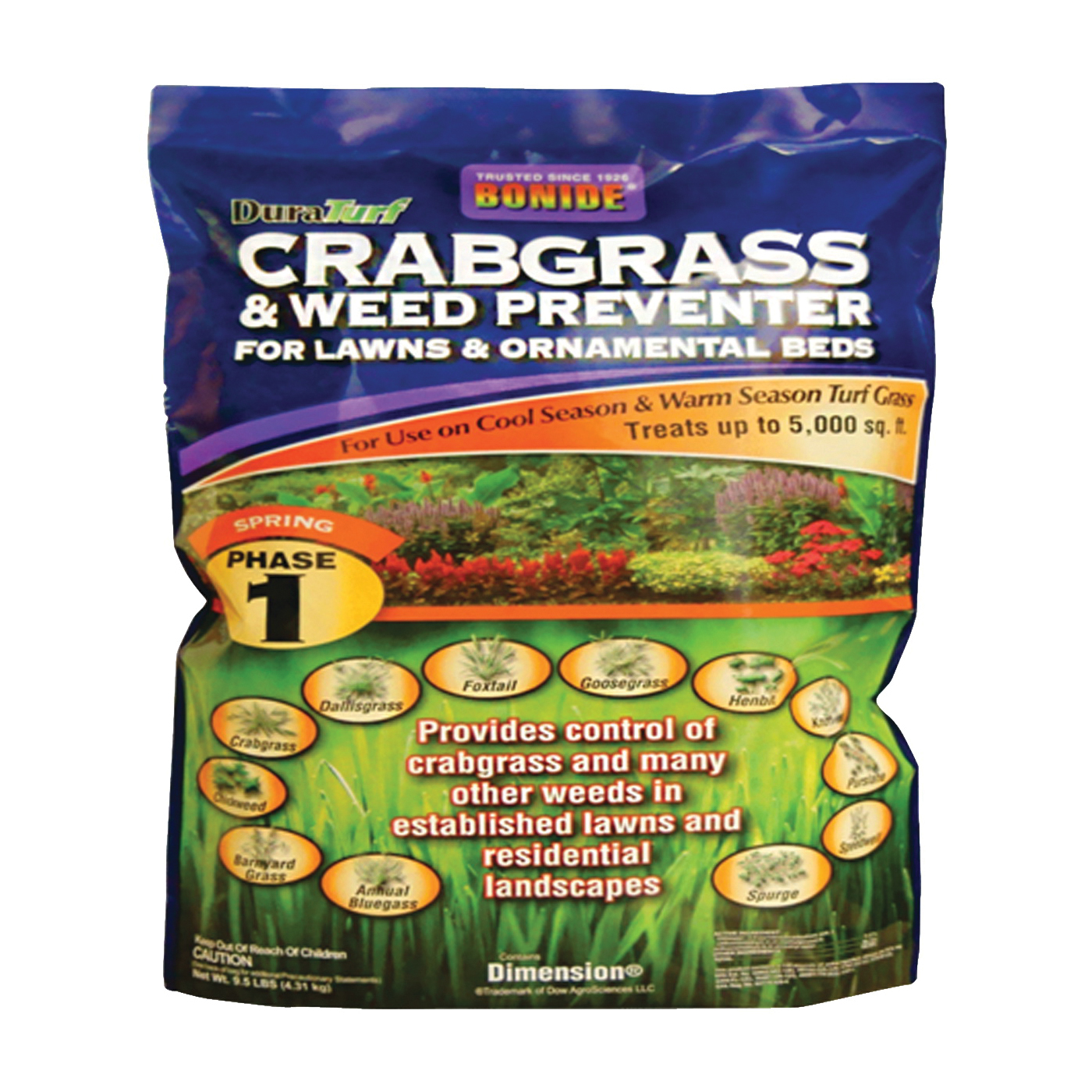 Picture of Bonide 60402 Crabgrass and Weed Preventer, Solid, Gold/Light Brown, 10 lb Package, Jug