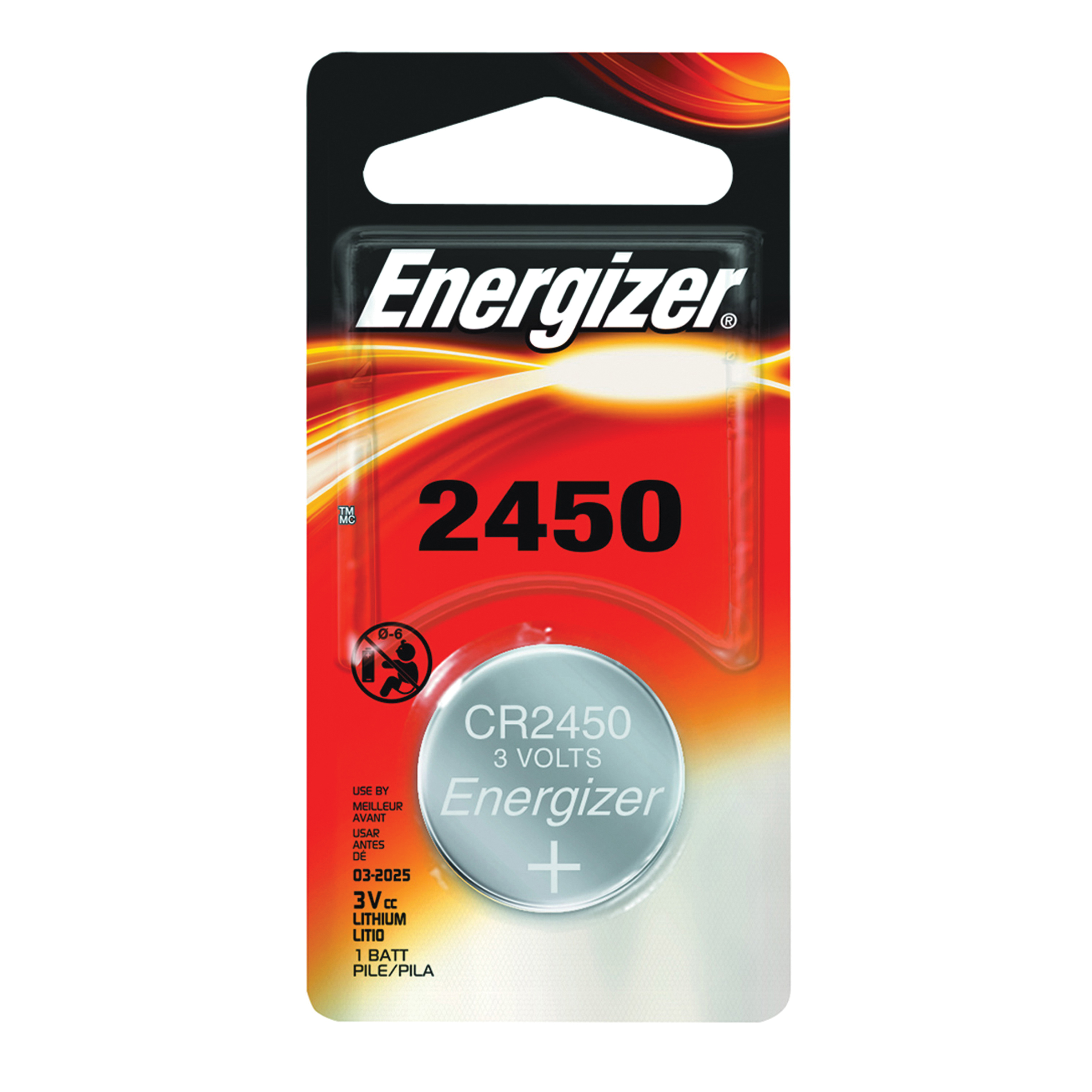 Picture of Energizer ECR2450BP Coin Cell Battery, 3 V Battery, 620 mAh, CR2450 Battery, Lithium, Manganese Dioxide