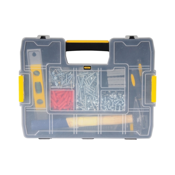 Picture of STANLEY STST14022 Tool Storage Organizer, 11-1/2 in W, 2.7 in H, 14 -Drawer, Plastic, Black/Yellow