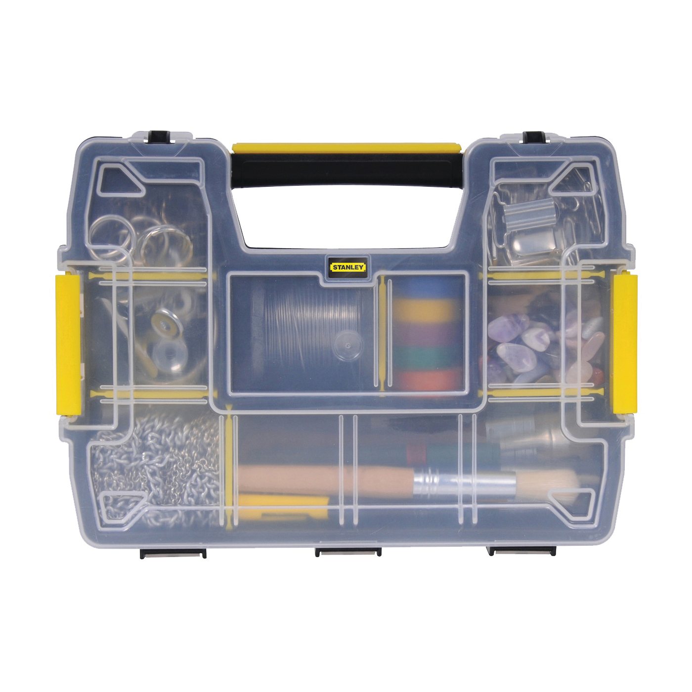 Picture of STANLEY STST14021 Tool Storage Organizer, 8-1/2 in W, 2.9 in H, 10 -Drawer, Plastic, Black/Clear Yellow