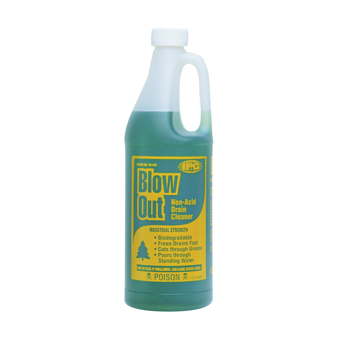 Picture of ComStar Blow Out 30-475 Drain Cleaner, Liquid, Dark Green, Odorless, 1 qt Package, Bottle