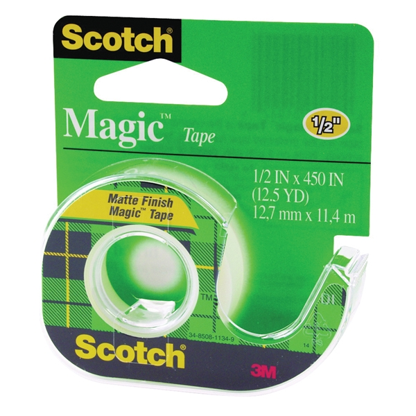Picture of Scotch Magic 104 Office Tape, 450 in L, 1/2 in W, Plastic Backing