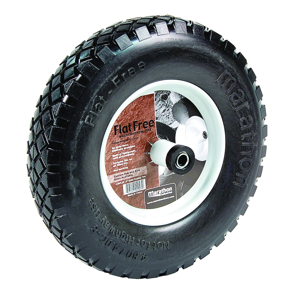 Picture of MTD 00047 Wheelbarrow Wheel, 4.8/4 x 8 in Tire, 15-1/2 in Dia Tire, Knobby Tread, Polyurethane Tire, 6 in L Hub