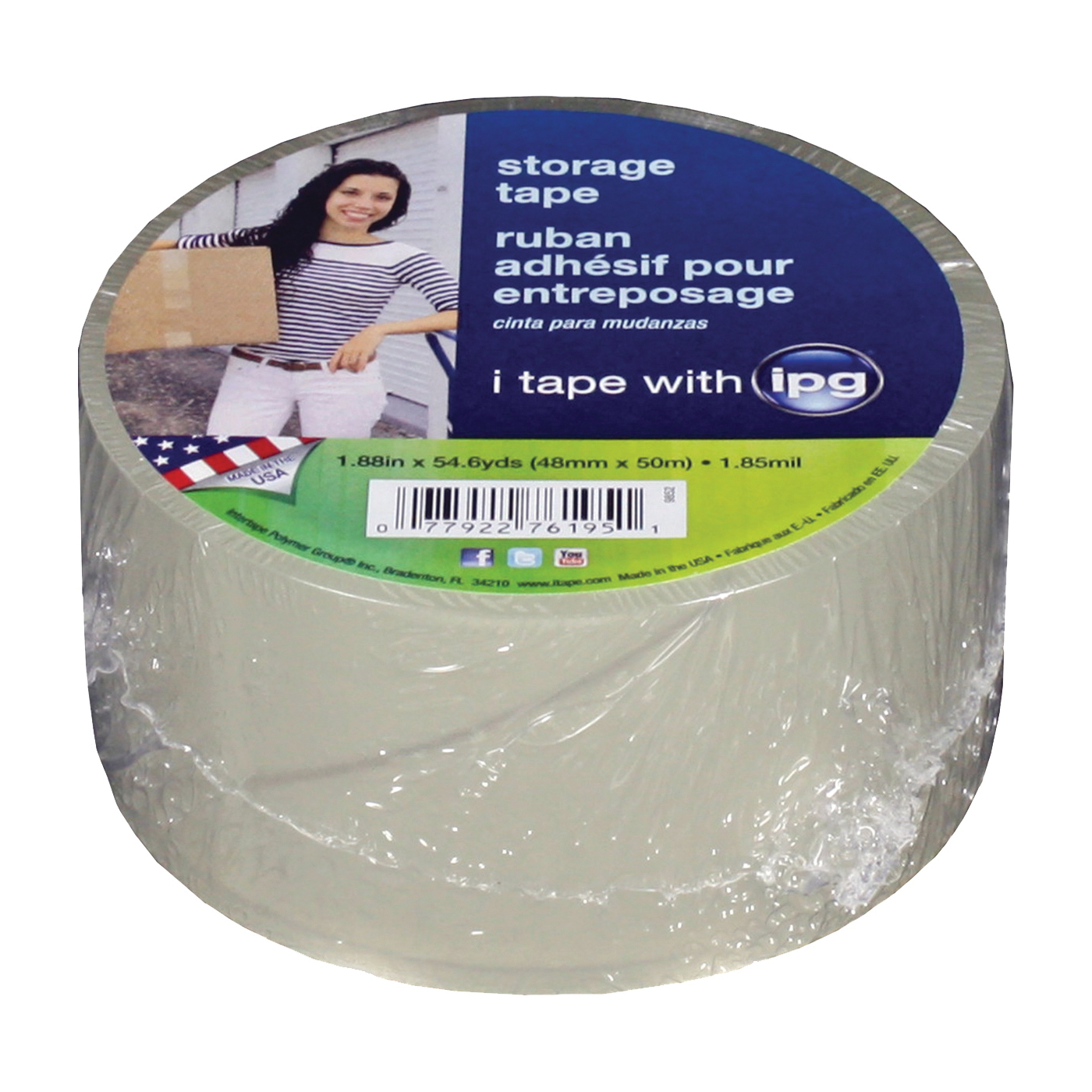 Picture of IPG 9852 Packaging Tape, 54.6 yd L, 1.88 in W, Polypropylene Backing, Clear
