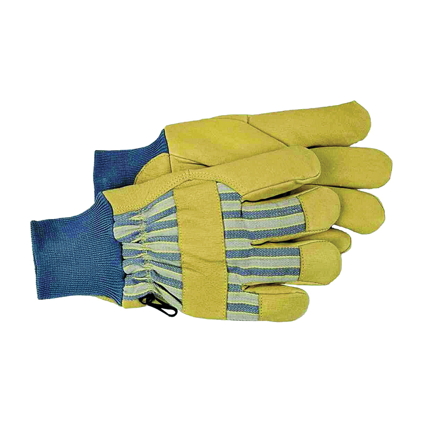 Picture of BOSS 4341L Protective Gloves, L, Wing Thumb, Knit Wrist Cuff, Blue/Tan