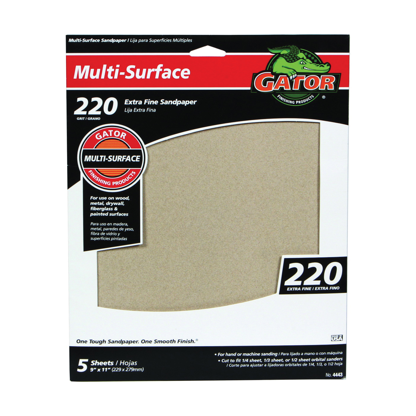Picture of Gator 4443 Sanding Sheet, 11 in L, 9 in W, 220 Grit, Extra Fine, Aluminum Oxide Abrasive