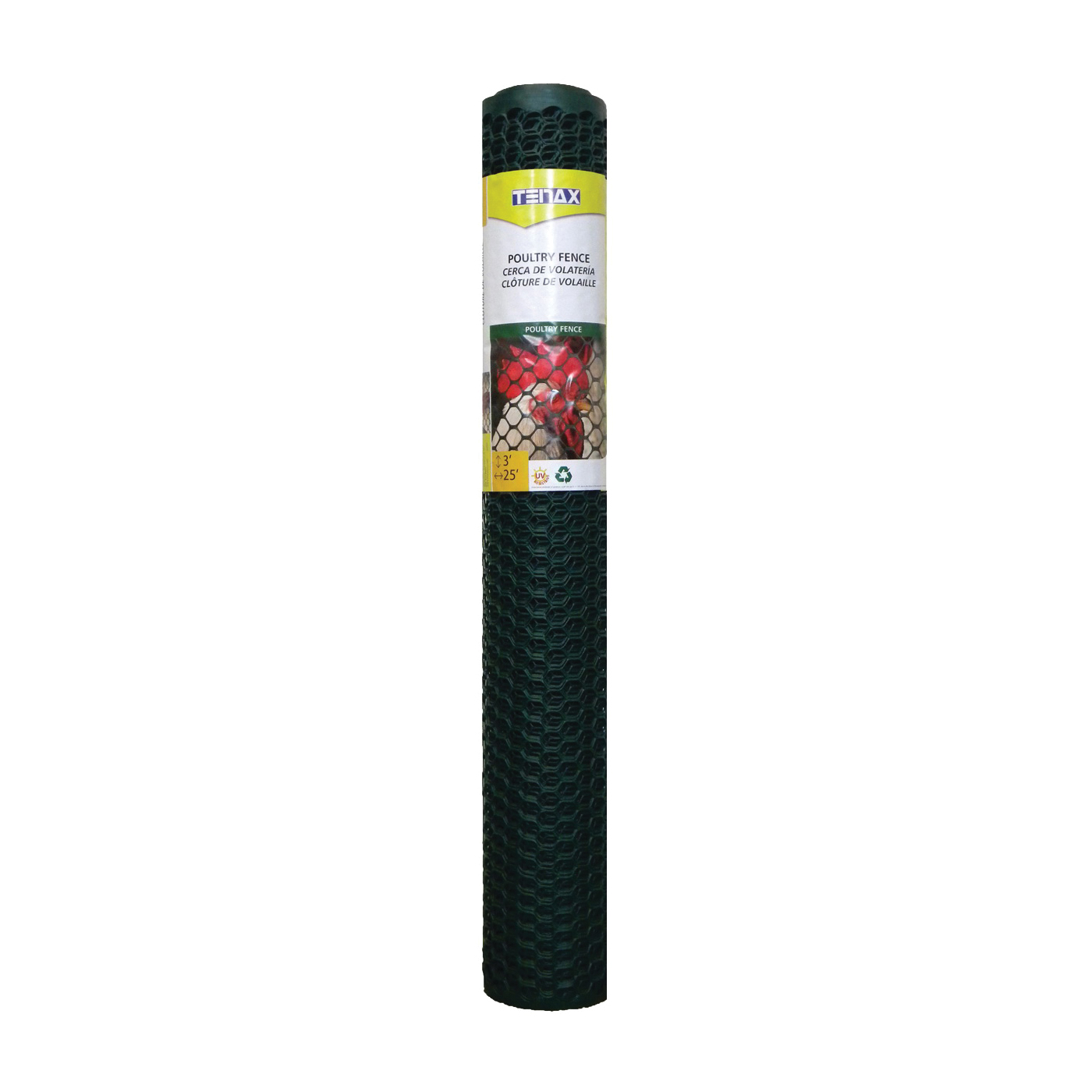 Picture of TENAX 090786 Mult-purpose Poultry Fence, 25 ft L, 3 ft W, Hexagonal Mesh, 3/4 x 3/4 in Mesh, Plastic, Green