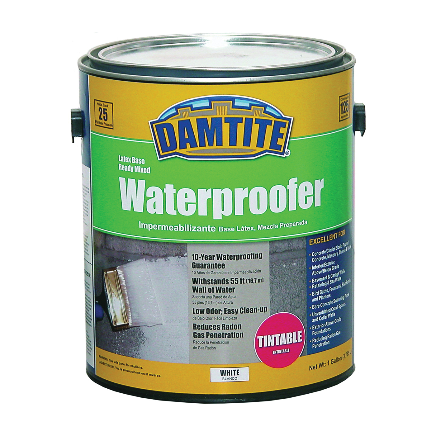 Picture of DAMTITE 03550 Latex Waterproofer, White, Liquid, 1 gal Package, Pail