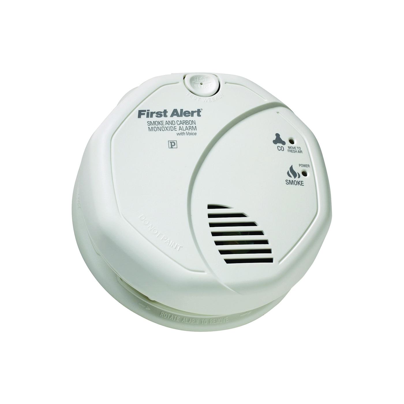 Picture of FIRST ALERT SC7010BV Carbon Monoxide Alarm, 10 ft, 85 dB, Alarm: Audible, Electrochemical, Photoelectric Sensor