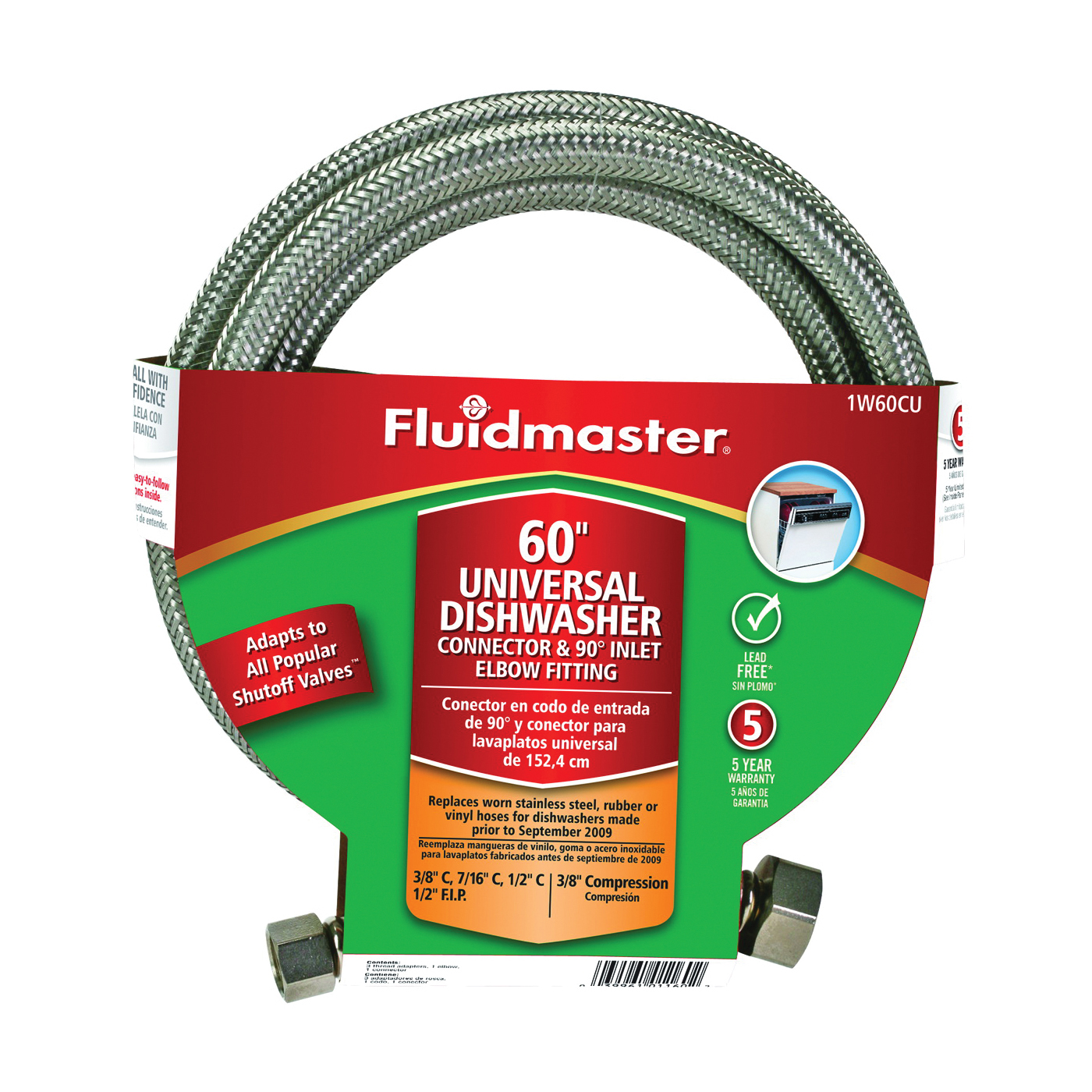Picture of FLUIDMASTER 1W60CU Dishwasher Connector, 3/8 in, Compression, Polymer/Stainless Steel
