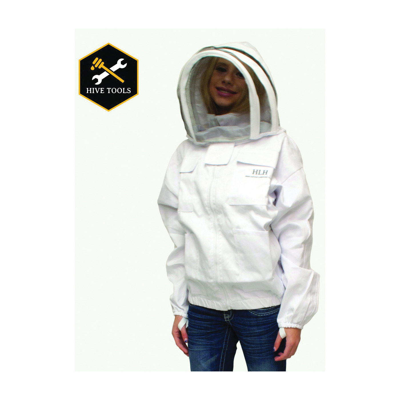 Picture of HARVEST LANE HONEY CLOTHSJXL-102 Beekeeper Jackets with Protective Hood, XL, Protective Hood, Zipper Closure, White