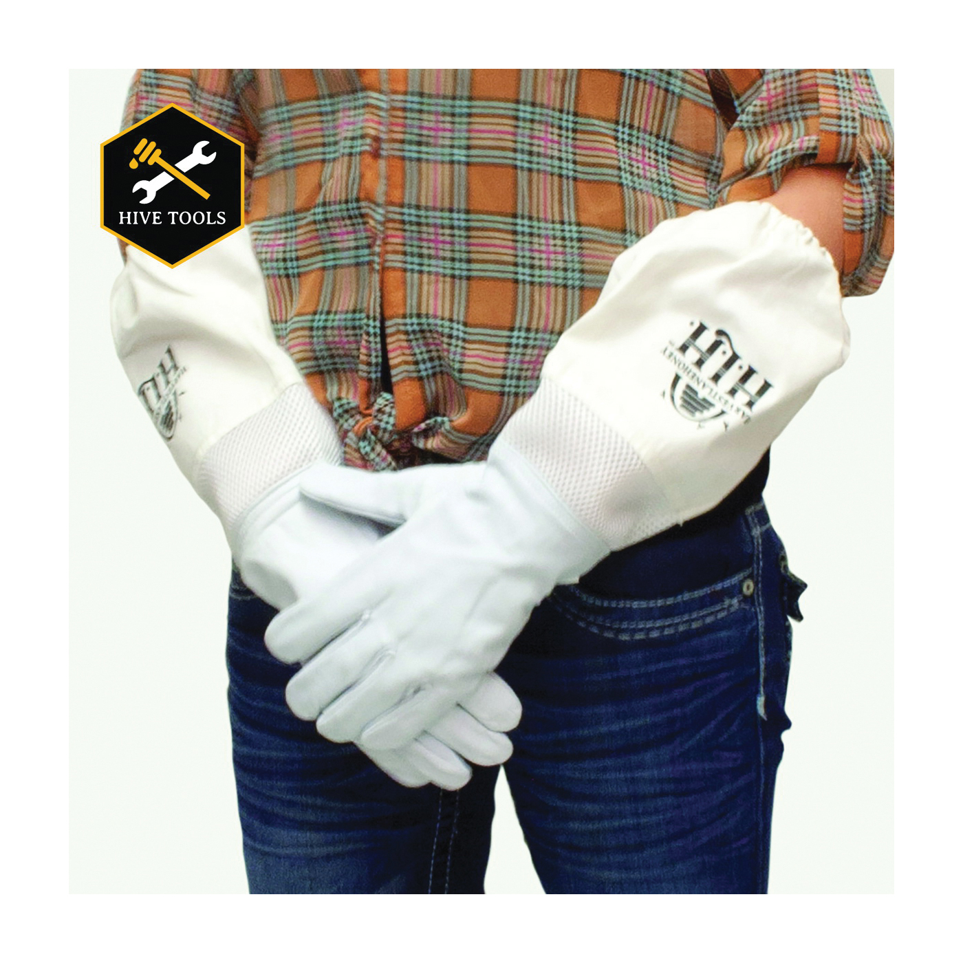 Picture of HARVEST LANE HONEY CLOTHGXS-103 Beekeeping Gloves, XS, Protective Hood, Goatskin Leather