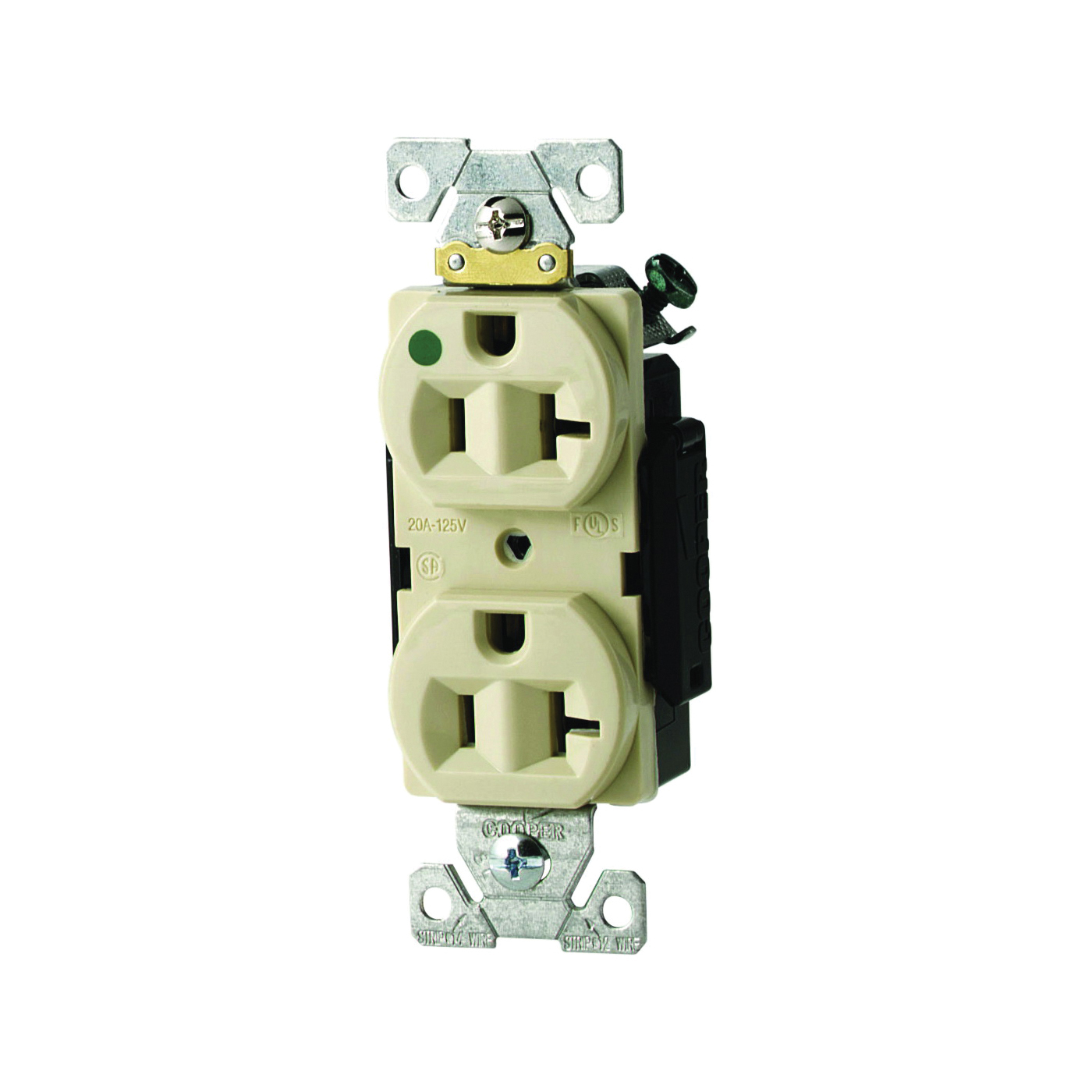 Picture of Eaton Wiring Devices AH8300V Duplex Receptacle, 2-Pole, 20 A, 125 V, Back, Side Wiring, NEMA: 5-20R, Ivory