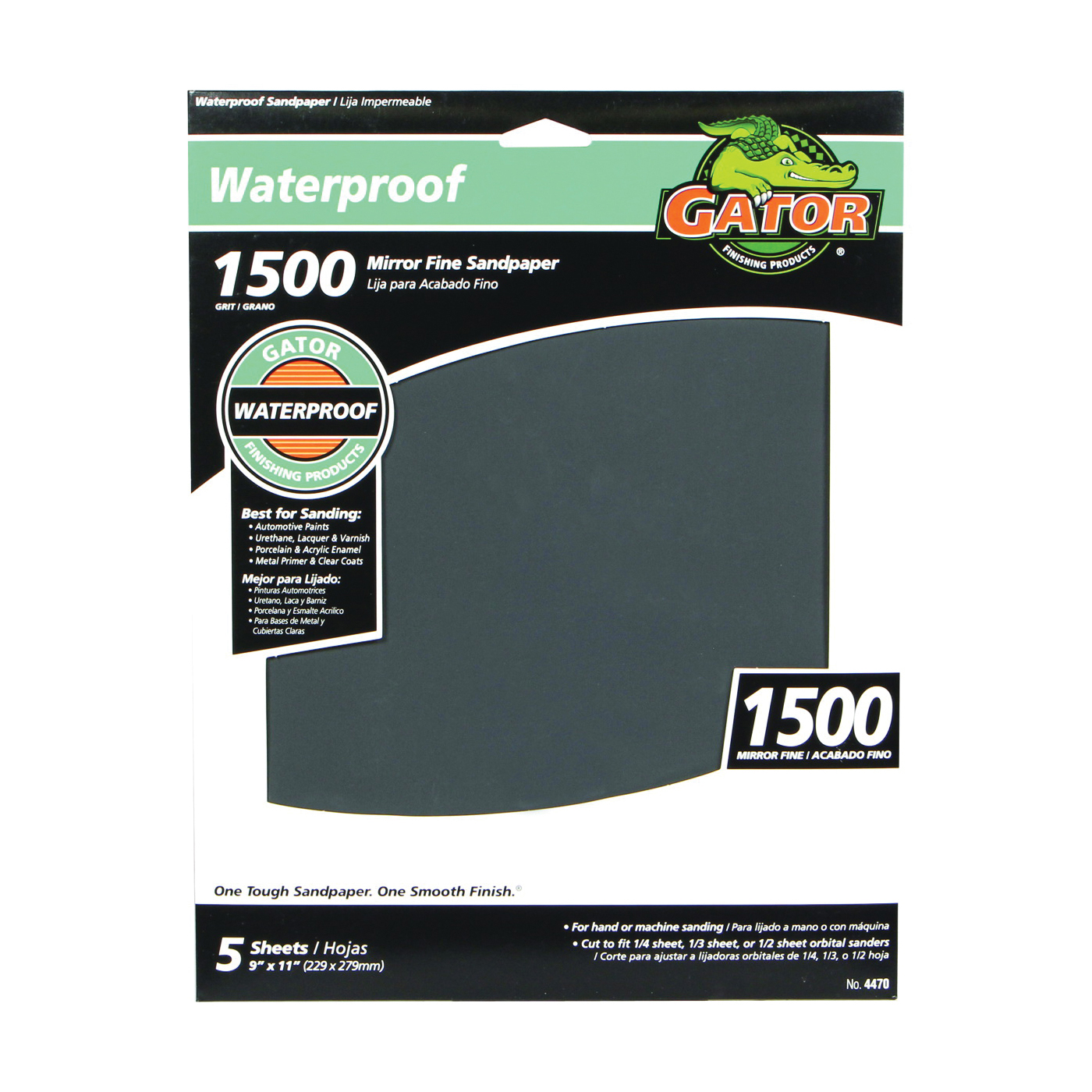 Picture of Gator 4470 Sanding Sheet, 9 in L, 11 in W, 1500 Grit, Fine, Silicone Carbide Abrasive