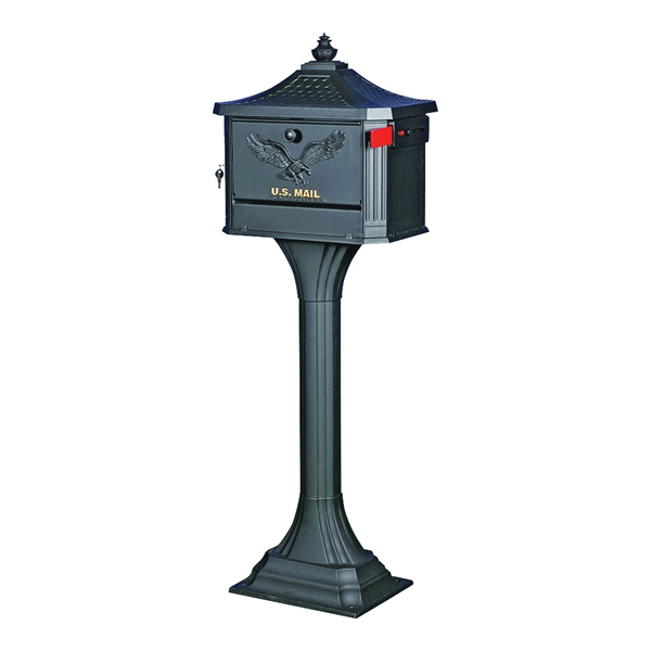 Picture of Gibraltar Mailboxes PED0000B Mailbox Post Combo, 1250 cu-in Mailbox, Aluminum Mailbox, Aluminum Post, Black