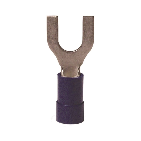 Picture of GB 20-114 Spade Terminal, 600 V, 16 to 14 AWG Wire, #8 to 10 Stud, Vinyl Insulation, Blue, 20/Clam