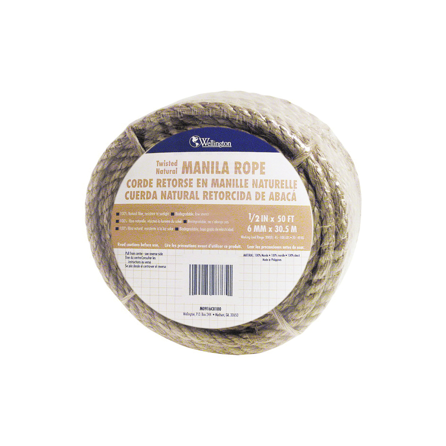 Picture of T.W. Evans Cordage 26-003 Rope, 1/2 in Dia, 50 ft L, 360 lb Working Load, Manila, Natural, Spool