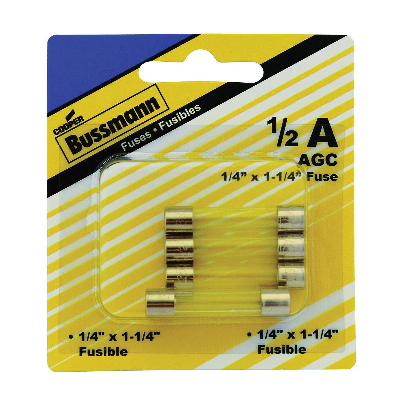 Picture of Bussmann BP/AGC-1/2-RP Tube Fuse, 250 V, 0.5 A, 10 kA at 125 VAC, 35 A at 250 VAC Interrupt