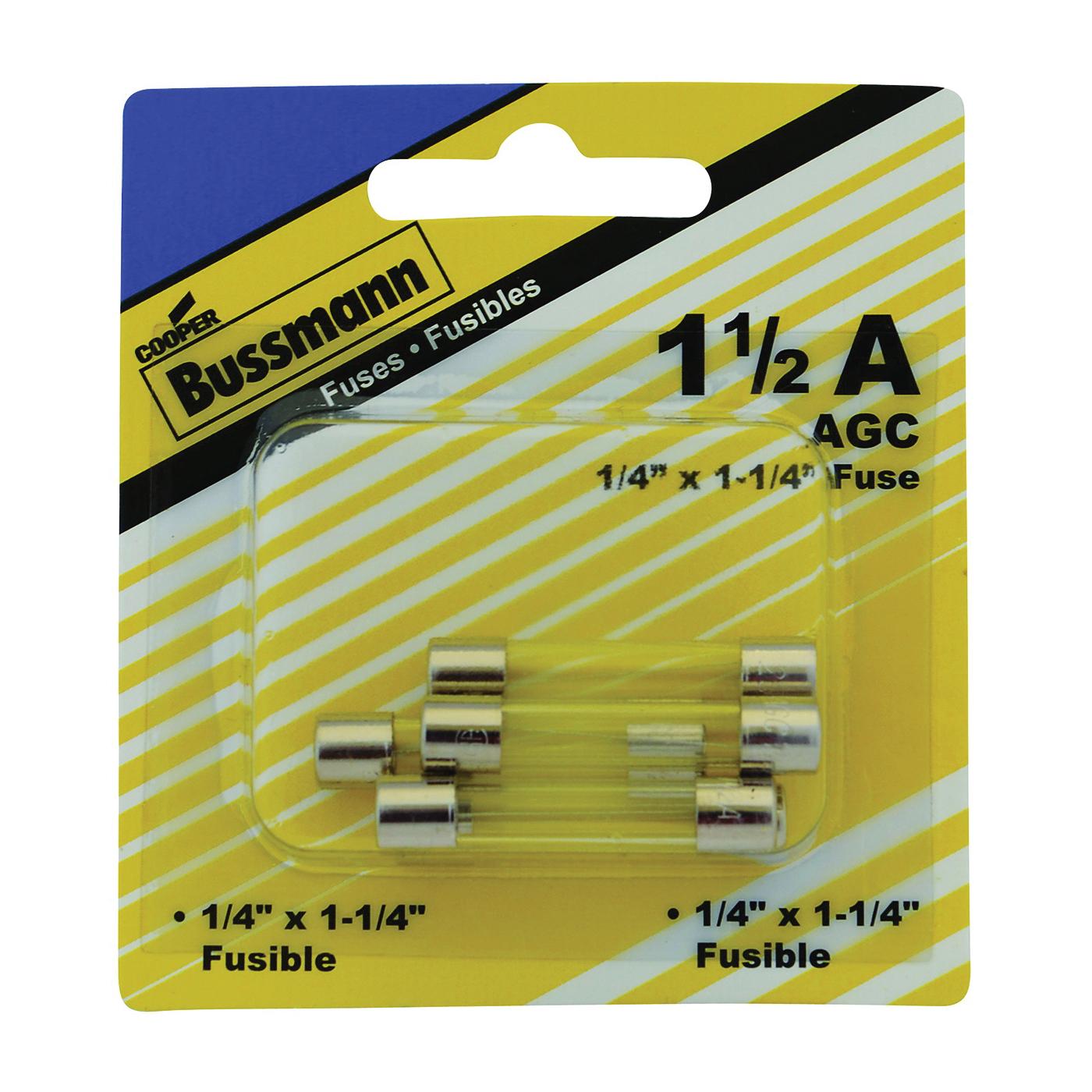 Picture of Bussmann BP/AGC-1-1/2-RP Tube Fuse, 250 V, 1.5 A, 10 kA at 125 VAC, 100 A at 250 VAC Interrupt
